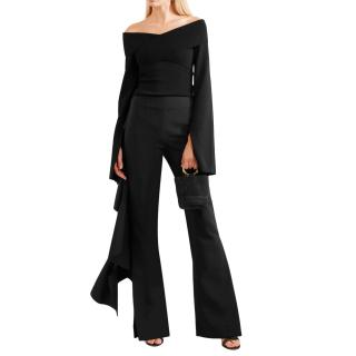 Solace London black crepe and hammered satin pants