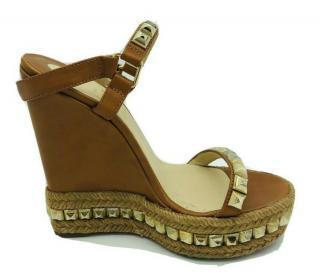 Louboutin tan wedge sandals