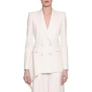 Alexander Mcqueen Double-Breasted Draped-Side Tuxedo Jacket