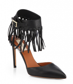 Valentino C-Rockee Leather Fringe Ankle Strap Pumps