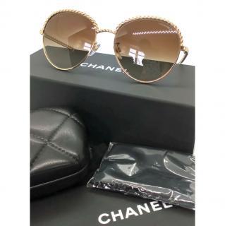 Chanel Gold Pantos Chain Trim Sunglasses