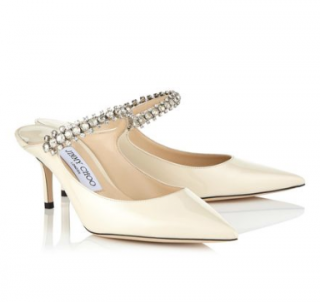 Jimmy Choo Bing 65 Embellished Nude Pumps