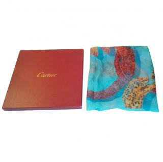 Cartier Turquoise Sheer Silk Scarf