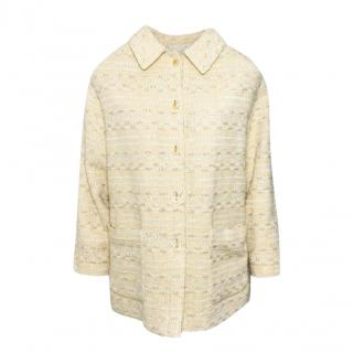 Chanel Beige Tweed Swing Jacket