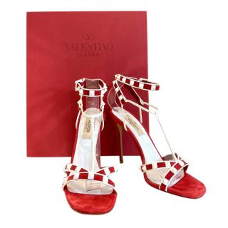 Valentino Suede Red & White Candy Spike Sandals
