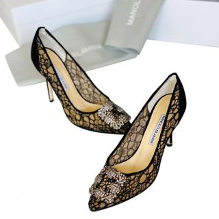 Manolo Blahnik Hangisi Lace Pumps