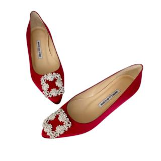 Manolo Blahnik Hangisi Satin Flats in Red