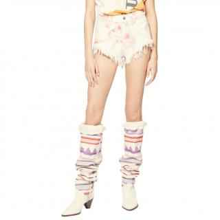 Isabel Marant Denim Distressed Bleached Tie-Dye Shorts