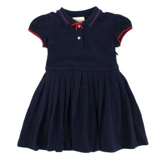 Gucci Cotton Blend Kids Navy Dress With Bow Detail