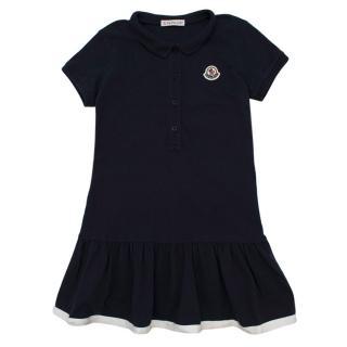 Moncler Kids Logo Patch Navy Polo Dress