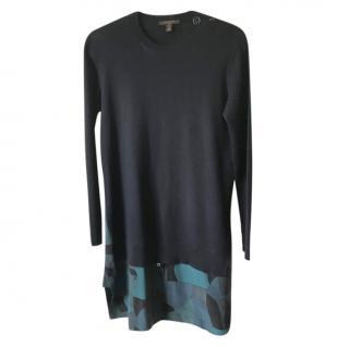 Louis Vuitton Navy Knit Shirt Dress