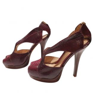 Fendi Snake Print Cut-Out Burgundy Pumps