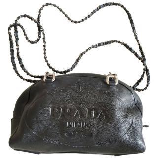Prada Black Leather Logo Embossed Tote Bag