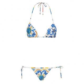 Dolce & Gabbana Majolica Print Triangle Bikini