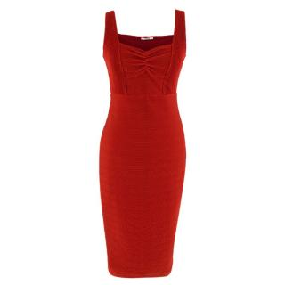 Maroon Wolford Textured Stretch Bodycon Dress