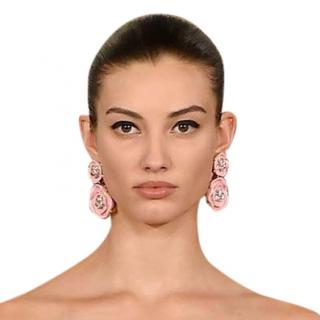 Oscar De La Renta Pink Crystal Embellished Resin Earrings