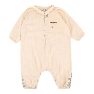 Caramel Kids Beige Embroidered Babygrow