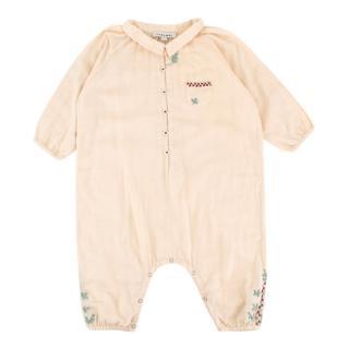 Caramel Kids Beige Embroidered Babygrow