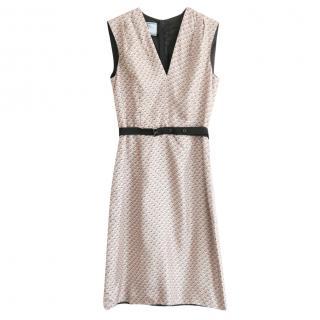 Prada tile print v neck silk dress