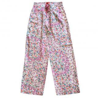 Carolina Herrera Floral Print Silk Pants