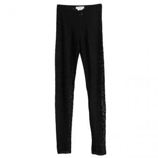 Christian Dior Galliano vintage black leopard print weave leggings