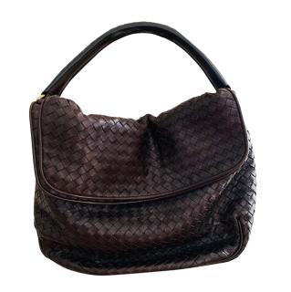 Bottega Veneta Dark Brown Fold Over Hobo Intrecciato Nappa Bag