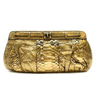Zagliani Gold Metallic Python Clutch