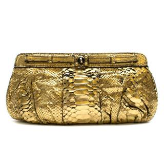 Zagliani Gold Metallic Python Clutch