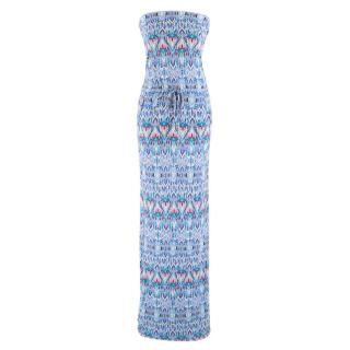 Melissa Odabash Blue Patterned Strapless Maxi Dress