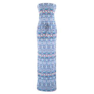Melissa Odabash Blue Patterned Strapless Maxi Dress