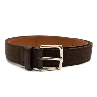 Kiton Brown Fabric & Leather Belt - size 95