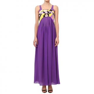 Leonard Purple Empire Line Maxi Dress