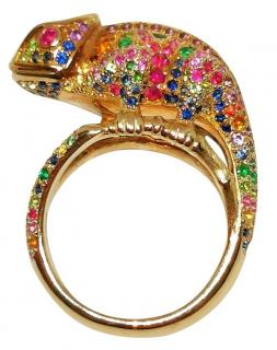 St Diamond Sapphire, Ruby & Emerald Solid Gold Chameleon Ring