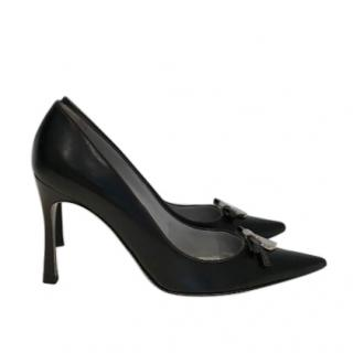 Sergio Rossi Black Leather Bow Detail Pumps