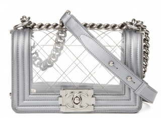 Chanel Silver PVC Diamond Stitched Small Naked Boy Bag