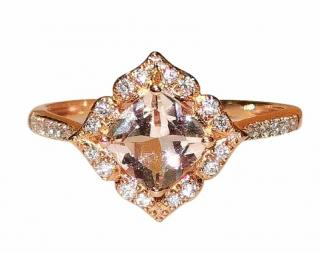 Bespoke Rose Gold Morganite & Diamond Ring