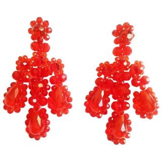 Simone Rocha red crystal chandelier earrings