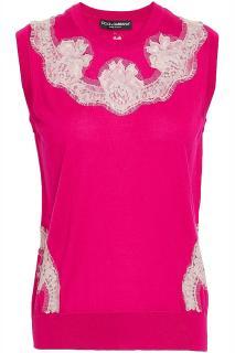 Dolce & Gabbana Fuchsia Lace Trimmed Sleeveless Knit Vest