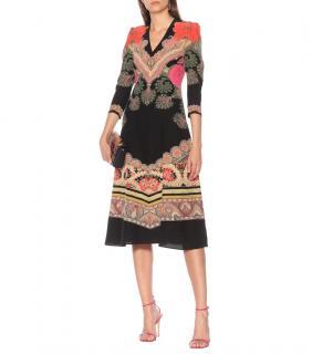 Etro 42 Paisley Print Silk Dress