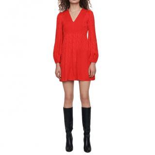 Maje Leopard Print Red Shift Dress