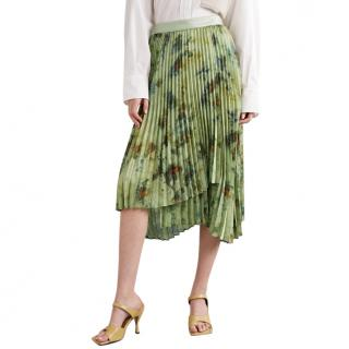 Andersson Bell Faux leather-trimmed pleated tie-dyed crepe skirt