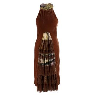 Jean Paul Gaultier VIntage Velvet Halter Neck Dress