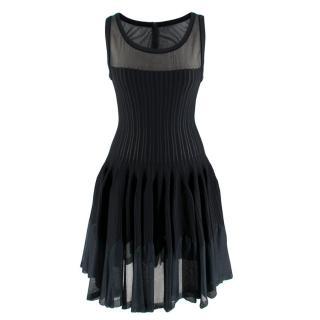 Alaia Sheer Panelled Knit Pleated Sleeveless Mini Dress