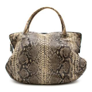 Zagliani Python Leather Tote Bag