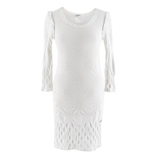 Chanel White Textured Long Sleeve Mini Dress