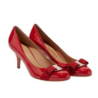 Ferragamo Red Parent Vara Pumps