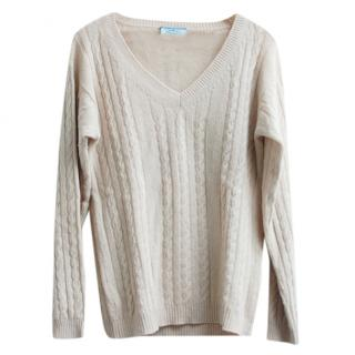 Prada Cable Knit Beige Angora & Wool Jumper