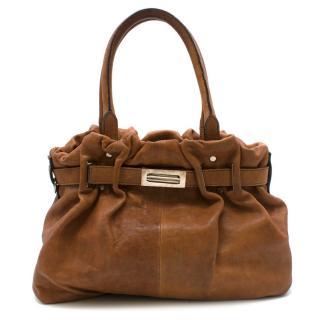 Lanvin Tan Brown Leather Belter Shoulder Bag