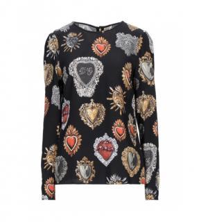 Dolce & Gabbana Sacred Heart Print Long Sleeve Top