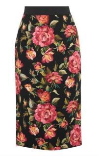 Dolce & Gabbana Rose Print Midi Skirt